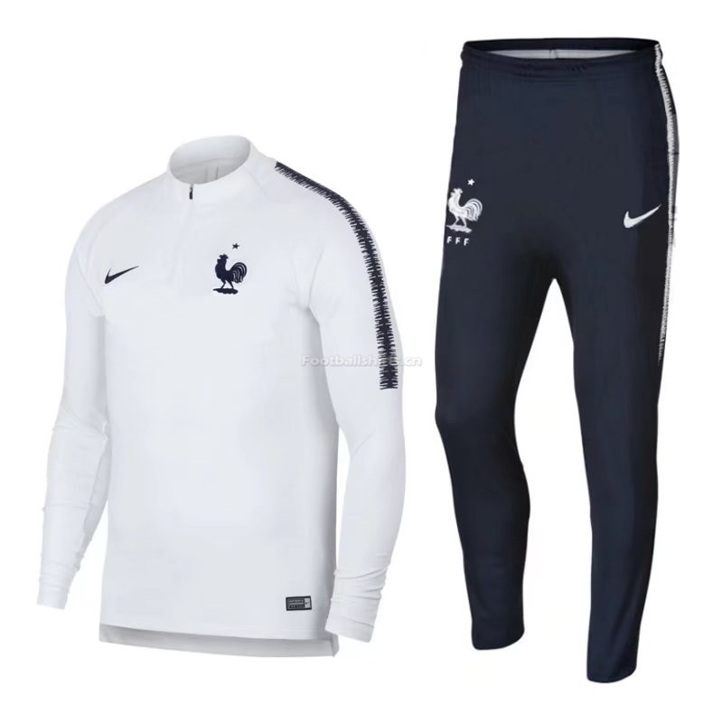 France FIFA World Cup 2018 Training Suit White(Sweat Shirt+Trous