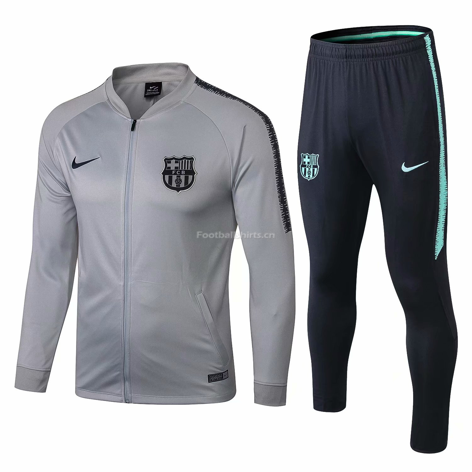 Barcelona Light Grey Training Suit (Jacket+Trouser) 2018/19