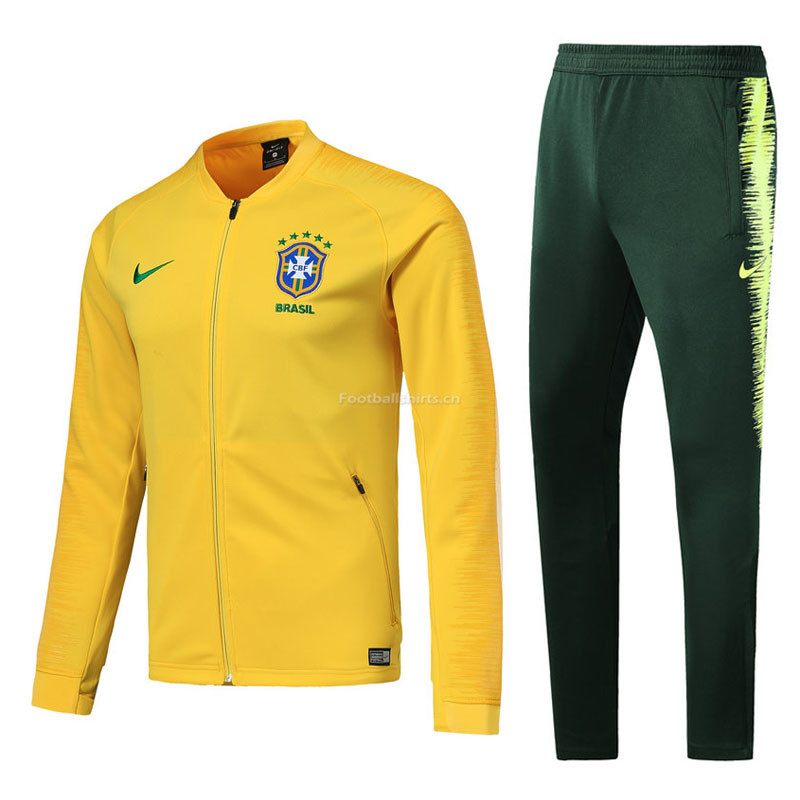 Brazil Yellow Stripe Training Suit (Jacket+Trouser) 2018/19