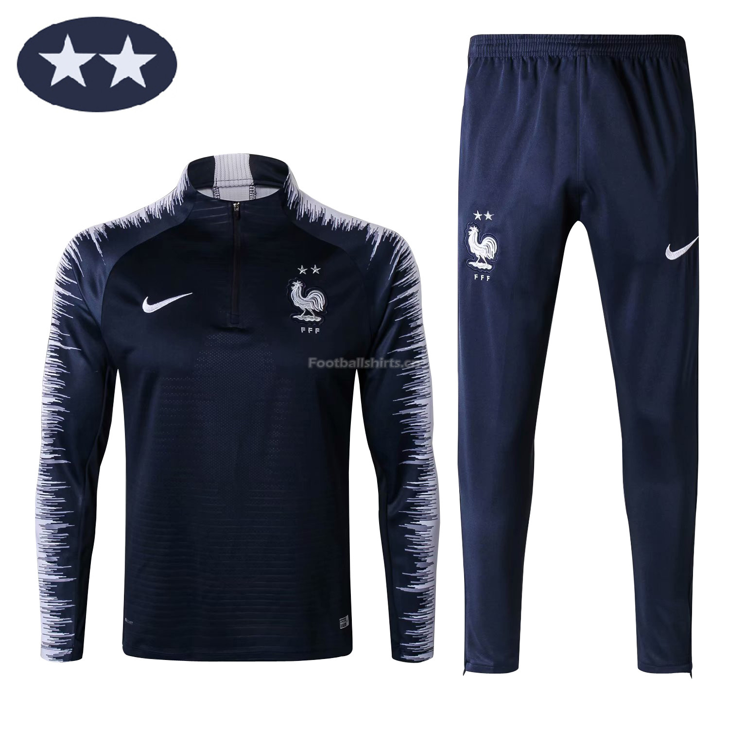 France 2 Star 2018 FIFA World Cup Navy Training Suit (Jacket+Tro