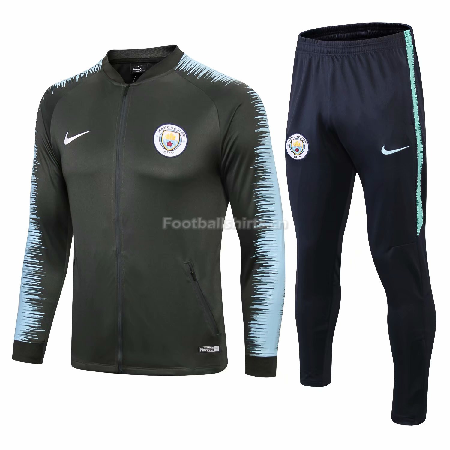 Manchester City Green Stripe Training Suit (Jacket+Trouser) 2018