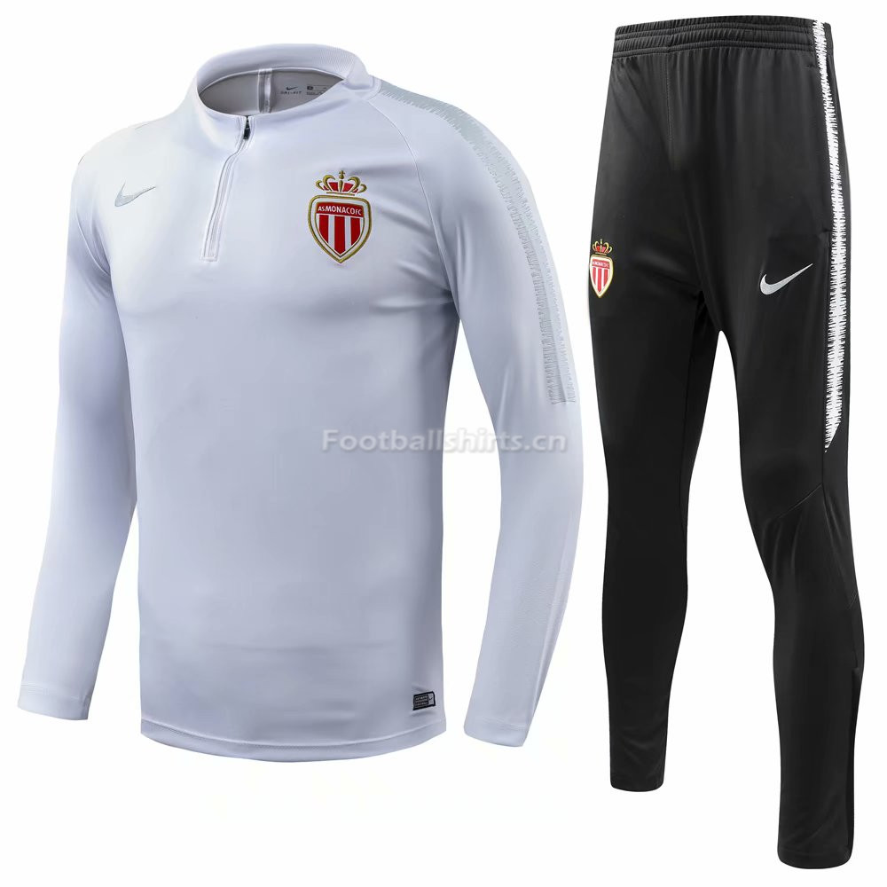 AS Monaco White Training Suit (Shirt+Trouser) 2018/19