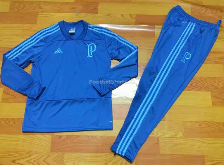 Palmeiras Blue V'Neck Training Suit (SweatShirt+Trouser) 2018/19
