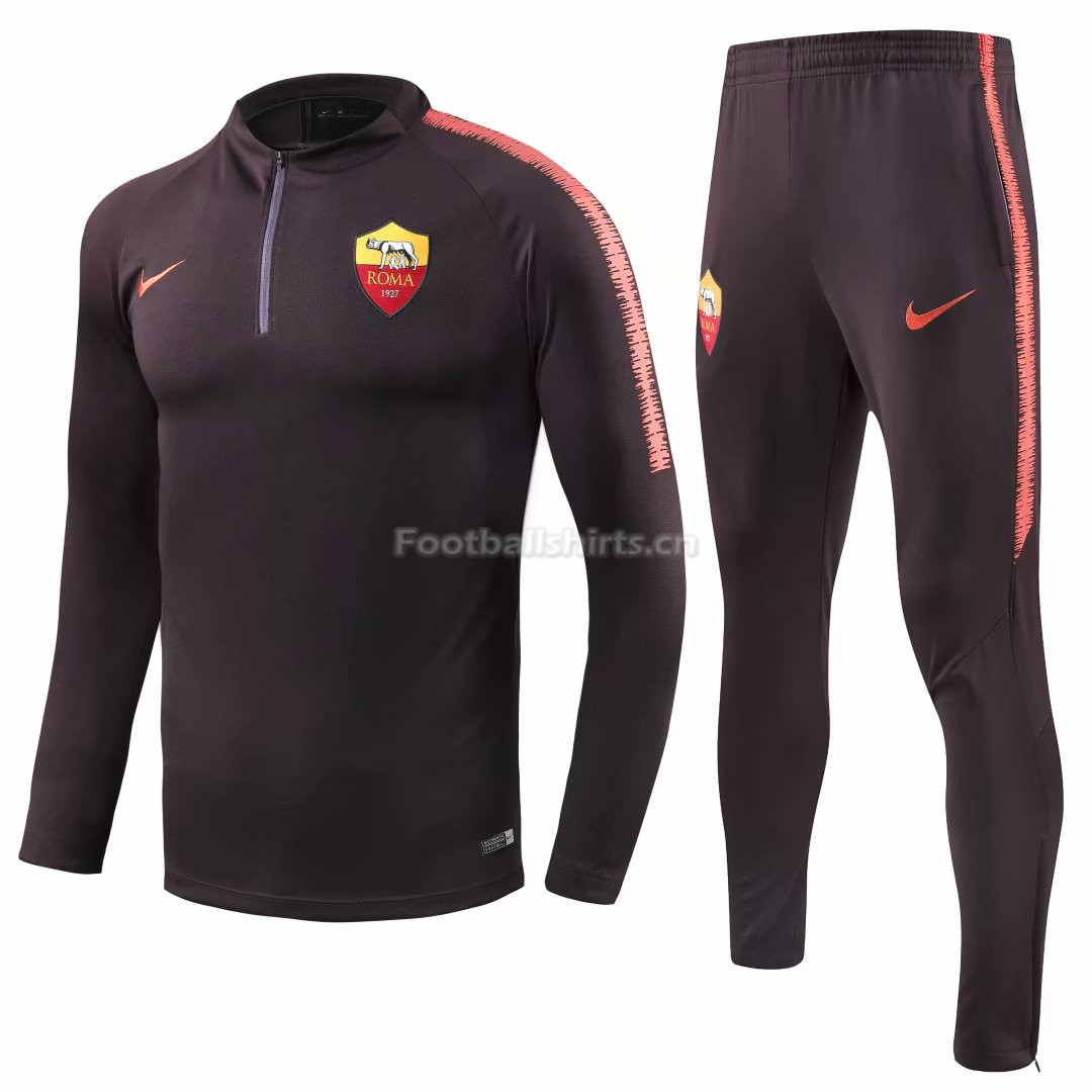 Roma Black Training Suit (Zipper Shirt+Trouser) 2018/19