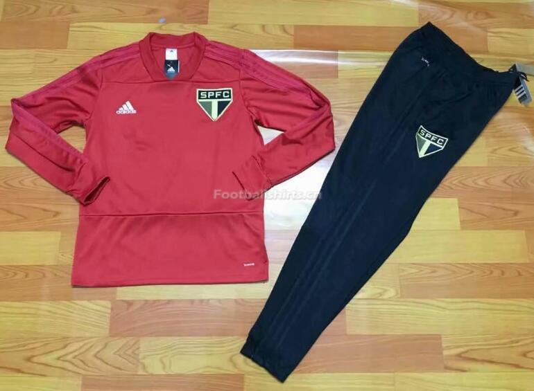 Sao Paulo FC Red V'Neck Training Suit (SweatShirt+Trouser) 2018/
