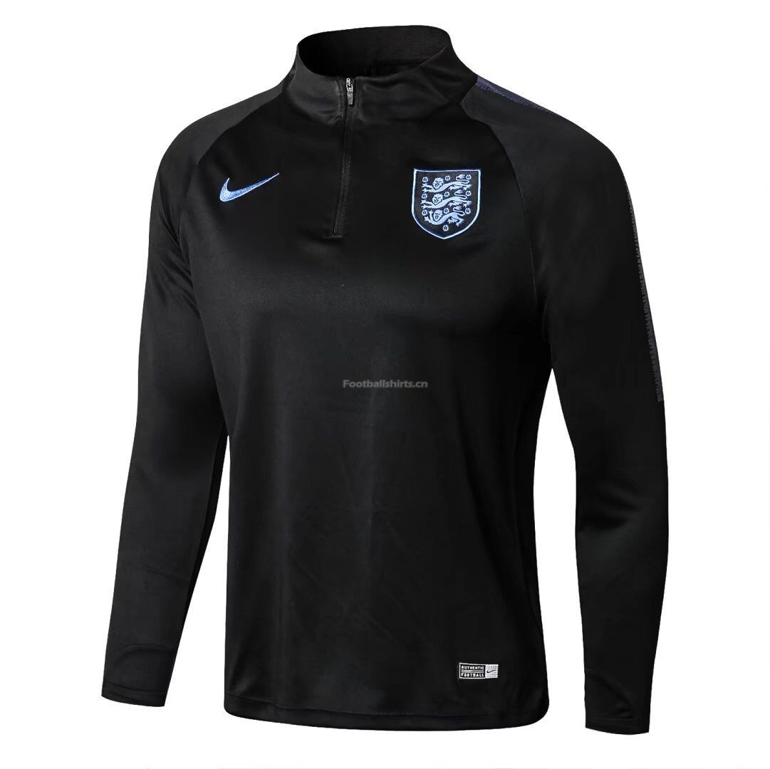 England 2018 World Cup Zipper Training Sweat Shirt Black
