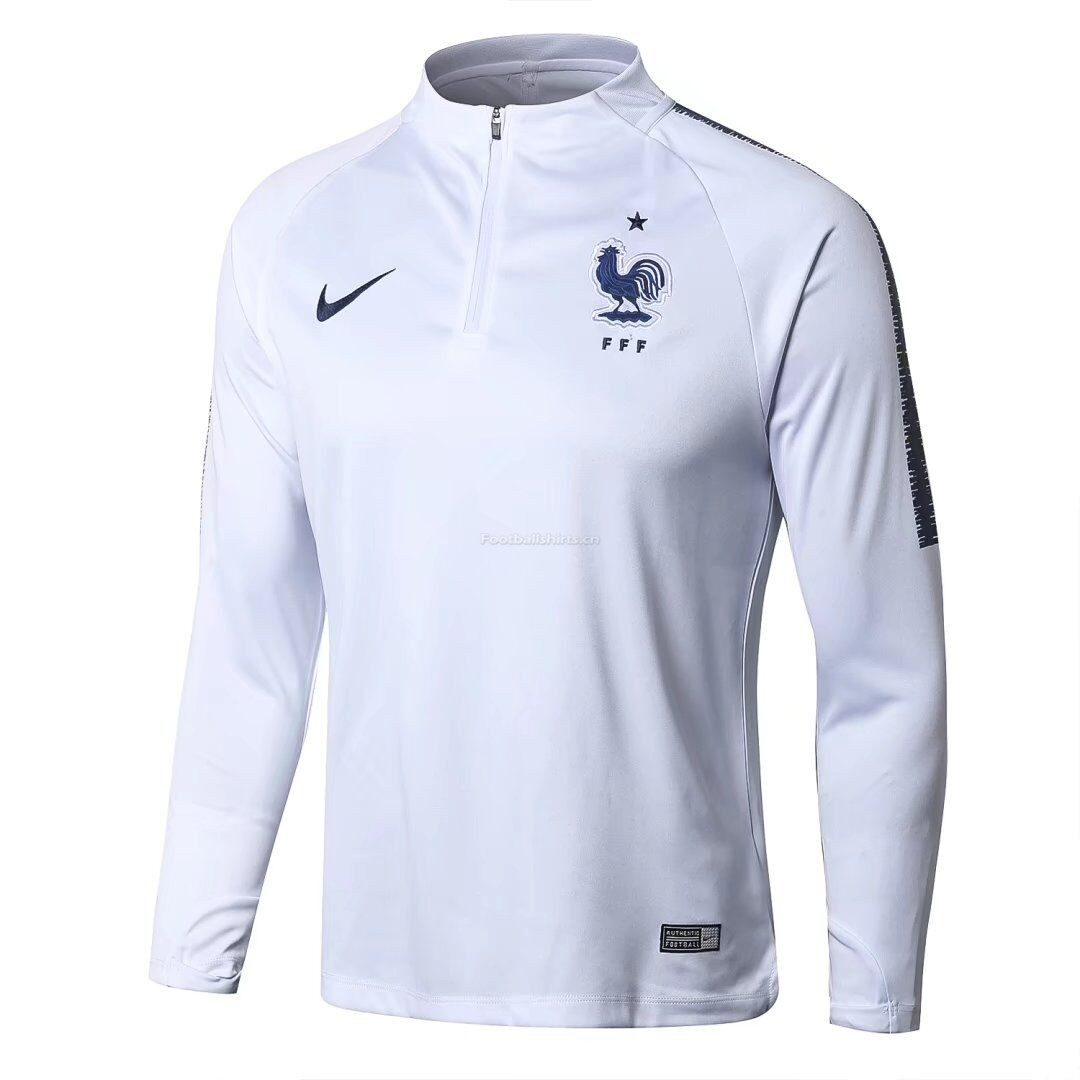 France 2018 World Cup Zipper Training Sweat Top White